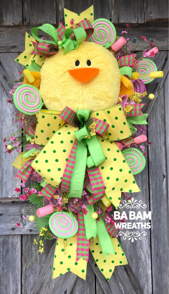 Chick Wreath, Easter Wreath, Spring Wreath, Easter Chick, Easter Mesh Wreath