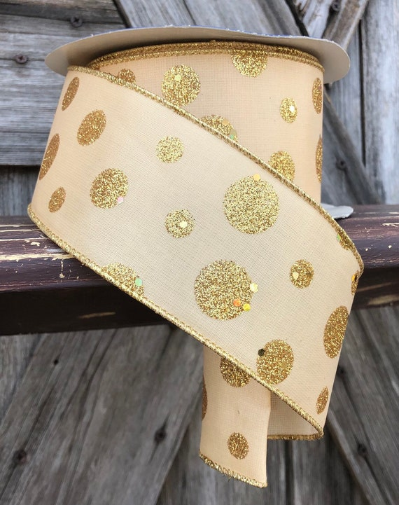 Wired Ribbon ~ 2 Inch Ribbon ~ Gold ~ 3 Yards