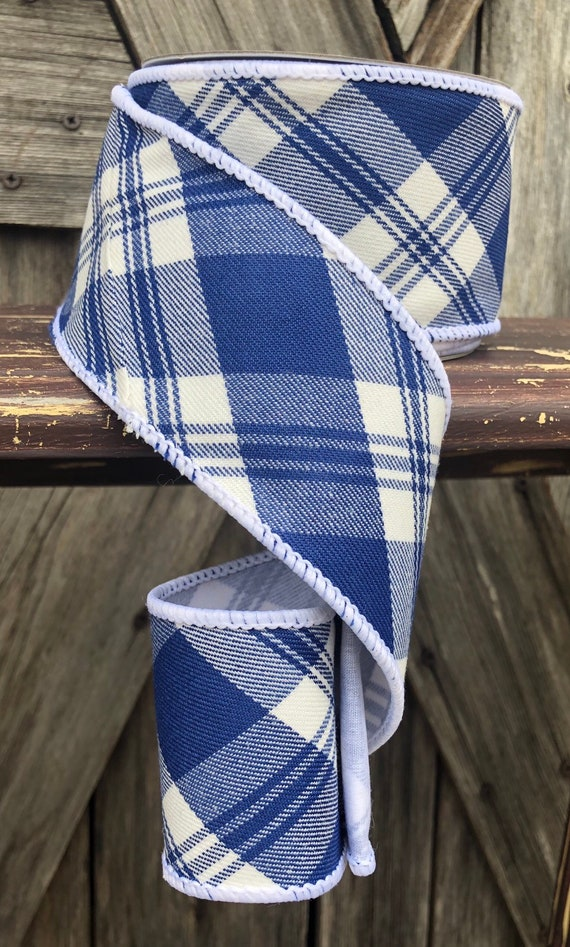 10 Yards, Wired Ribbon, Blue White Plaid