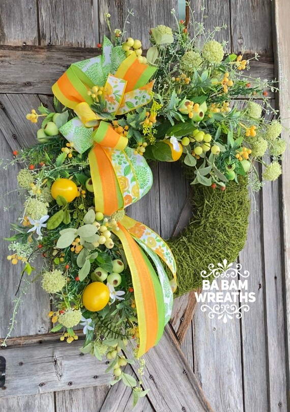 Summer Wreath, Front Door Wreath, Citrus Wreath, Floral Wreath, Lemon Wreath