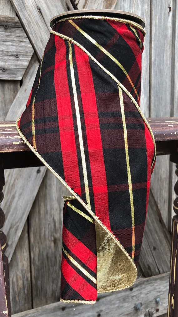 5 Yards, Wired Ribbon, 4 Inch Plaid Red Gold Black