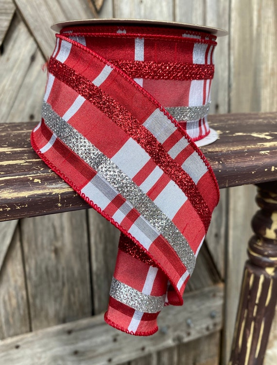 Wired Ribbon ~ 2.5 Inch Ribbon ~ Red Glitter Check