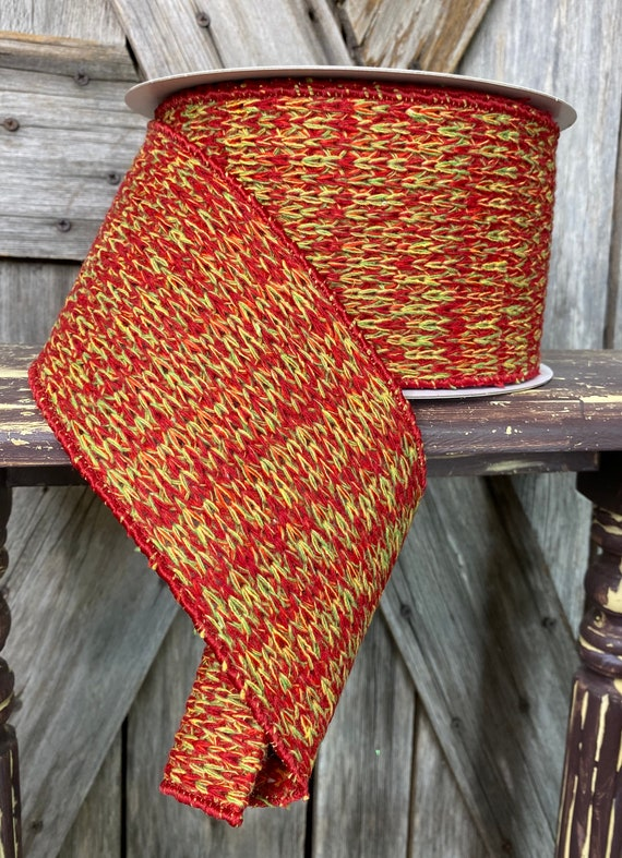 10 Yards, Rustic Woven Wired Ribbon,