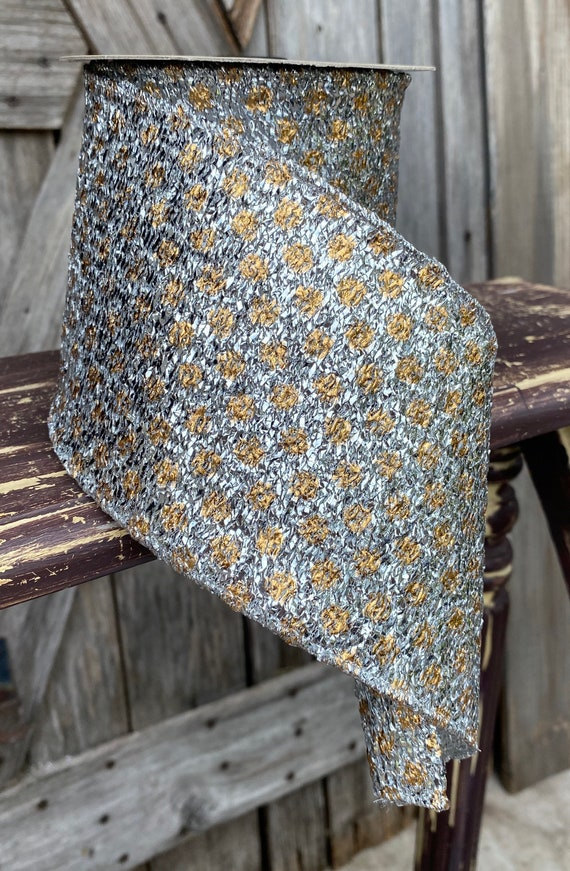 10 Yards, Wired Ribbon, Metallic Polka Dot