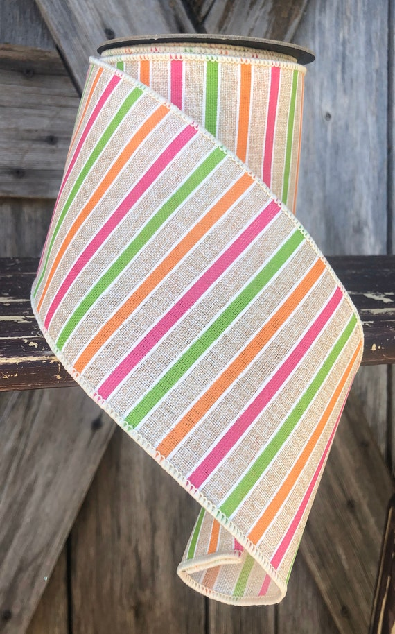 Wired Ribbon ~ 4 Inch Ribbon ~ Fun Spring Stripe~ 10 Yards