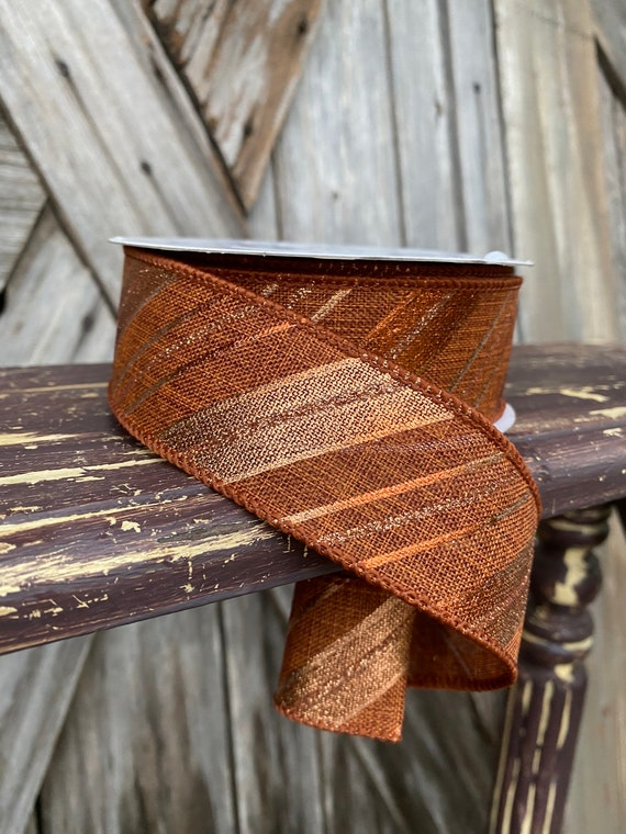 25 Yards, Wired Ribbon, Rust Copper Stripe