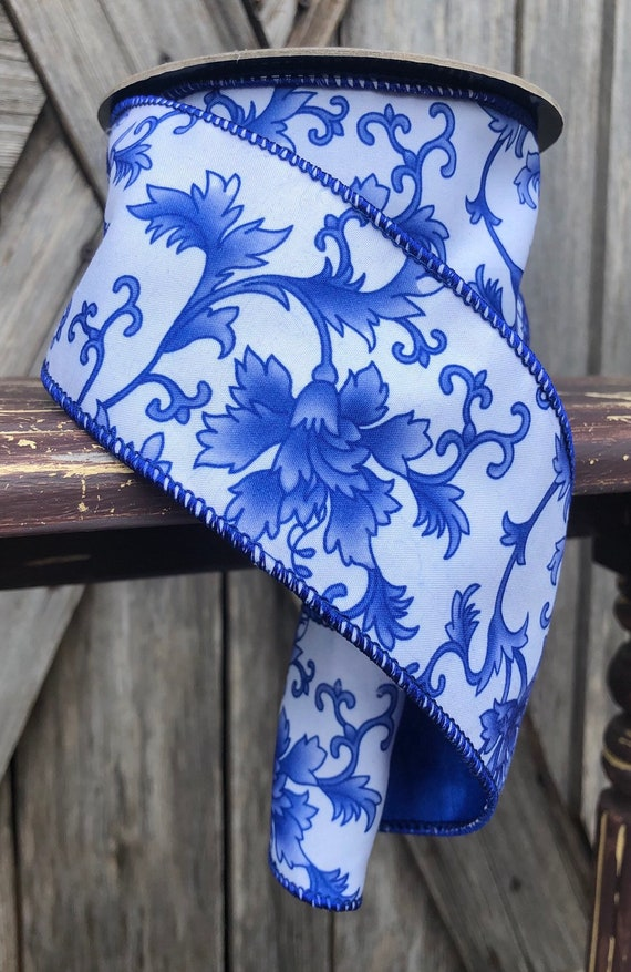 10 Yards, Wired Ribbon, Blue White Floral