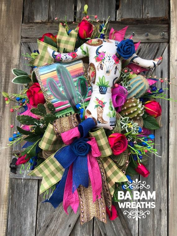 Everyday Wreath, Rustic Wreath, Succulent Decor, Rustic Decor, Cactus Decor, Summer Wreath, Summer Door Hanging, All Season Wreath, Rustic C