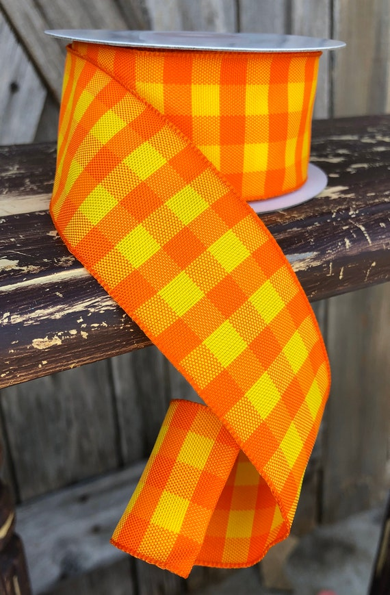 Wired Ribbon ~ 1.5 Inch Ribbon ~ Orange Yellow Gingham ~ 10 Yards