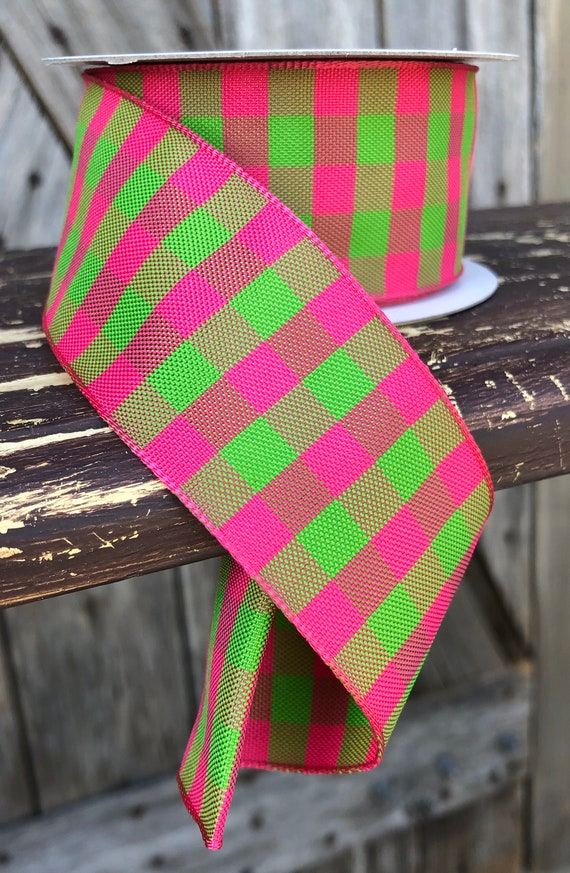 Wired Ribbon ~ 1.5 Inch Ribbon ~ Pink Green Gingham ~ 10 Yards