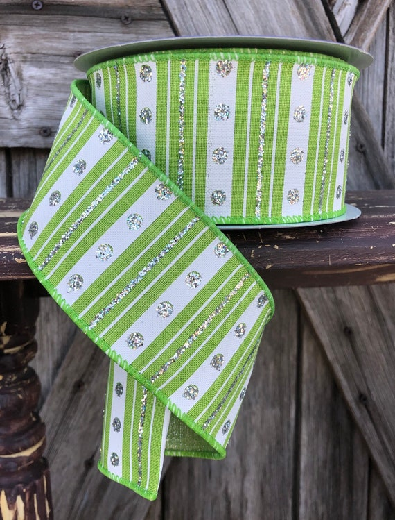 Wired Ribbon ~ 2 1/2 Inch Ribbon ~ Green Stripe Ribbon ~ 3 Yards