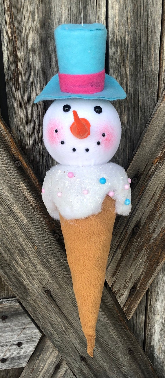 Snowman Ice Cream Ornament 15 inches