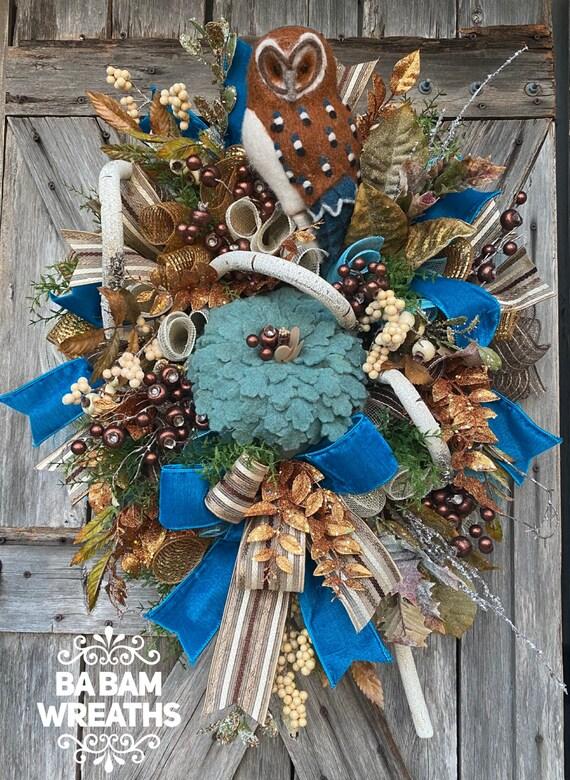 Fall Wreath, Front Door Wreath, Owl Wreath, Fall Wreath, Autumn Wreath