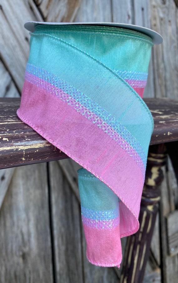 10 Yards, Pink Green Candy Stripe Ribbon