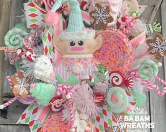 Christmas Wreath, Holiday Swag, Holiday Wreath, Elf Decor, Elf Wreath, Whimsical Christmas