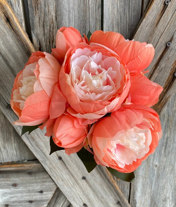 Coral Peony Bush, Wreath Supply, Floral
