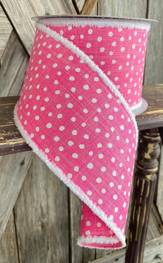 Wired Ribbon ~ 4 Inch Ribbon ~ Pink Polkadot  ~ 10 Yards