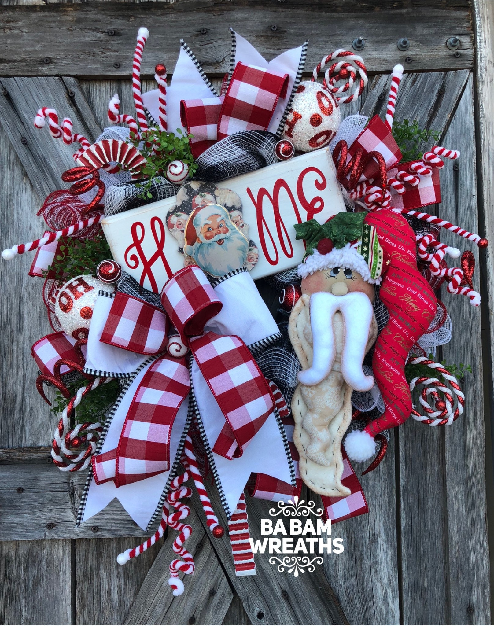 Red And White Christmas Wreath.Santa Wreath Traditional Christmas Red White Christmas