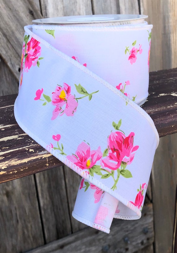 Wired Ribbon ~ 2.5 Inch Ribbon ~ Pink White floral ~ 10 Yards