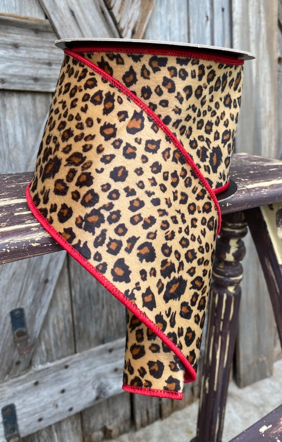 10 Yards, Wired Ribbon, 4 Inch Faux Hair Cheetah Red Trim
