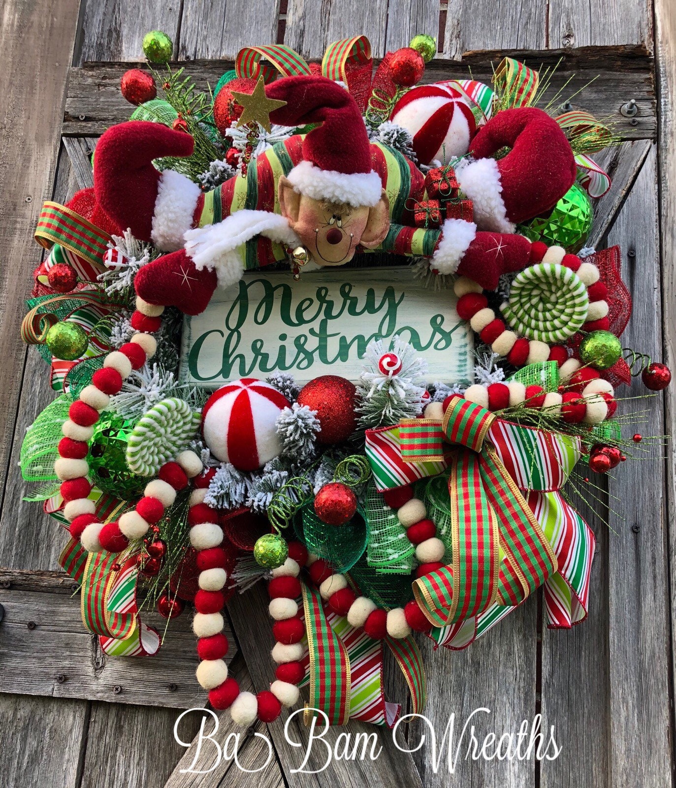 Elf Wreath Elf Decor Candyland Wreath Candyland Decor