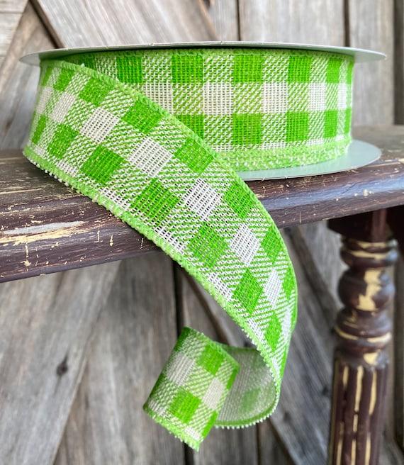 Wired Ribbon ~ 1.5 Inch Ribbon ~ Green Gingham Ribbon ~ 20 Yards
