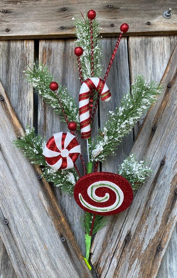 Wreath Supply, Glitter Candy Snow Pine Spray
