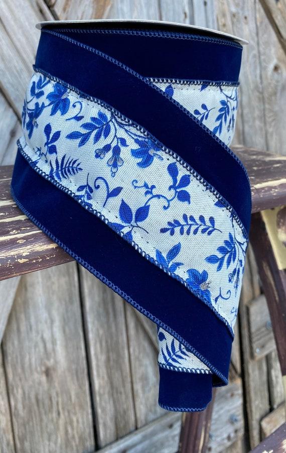 10 Yards, Blue Floral Vine Ribbon