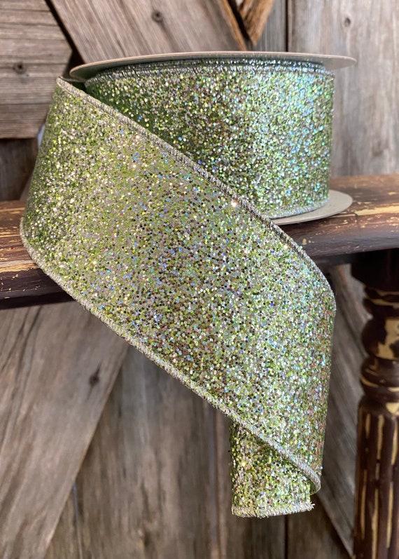 Wired Ribbon ~ 2.5 Inch Ribbon ~ Mint Glitter Magic Ribbon ~ 10 Yards