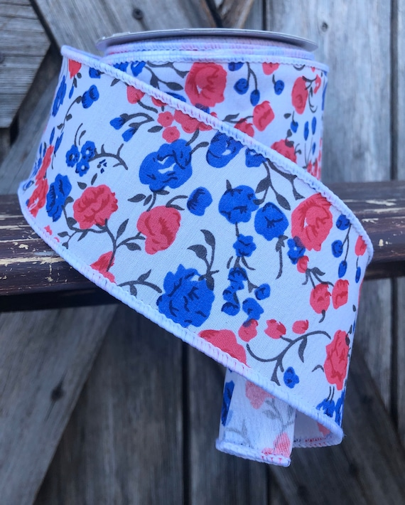 Wired Ribbon ~ 2.5 Inch Ribbon ~ Blue Red floral ~ 10 Yards