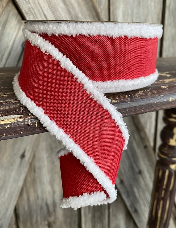 Wired Ribbon ~ 1.5 Inch Ribbon ~ Red with White Edge ~ 10Yards