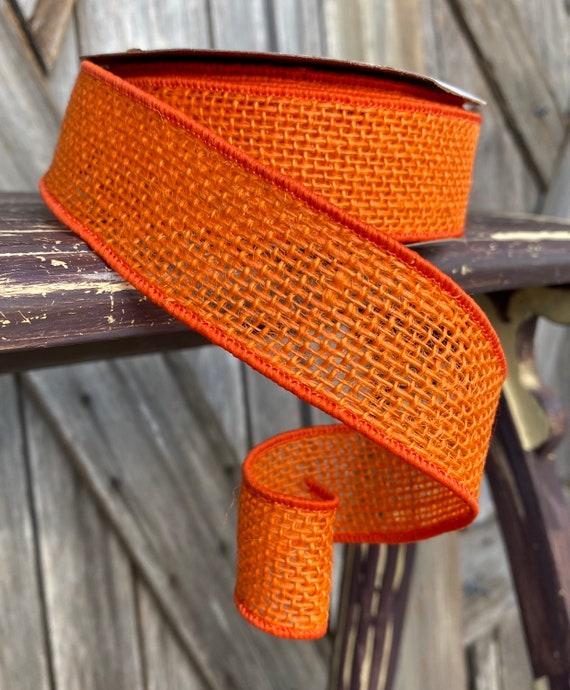 10 Yards, Wired Ribbon, Orange Burlap