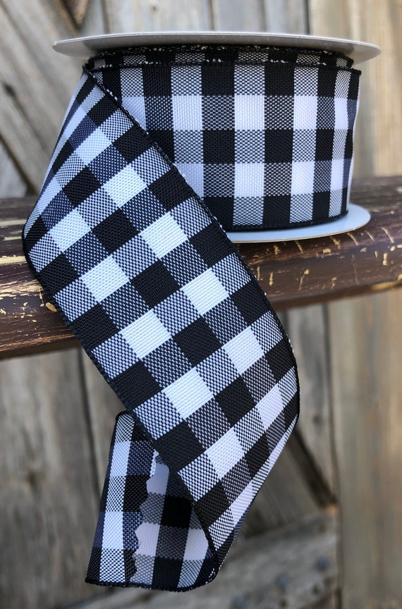 Wired Ribbon ~ 1.5 Inch Ribbon ~ Black White Gingham ~ 10 Yards