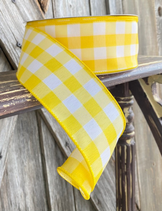 Wired Ribbon ~ 2.5 Inch Ribbon ~ Yellow Gingham Ribbon ~ 50 Yards