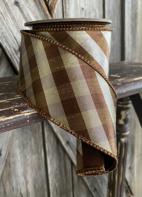 10 Yards, Metallic Brown Silver Ribbon