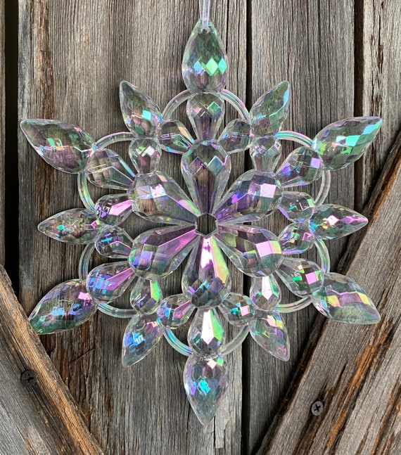 Assorted Acrylic Snowflake 9.5  Inch Shatterproof Ornament