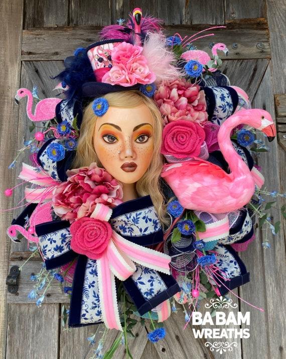 Summer Wreath for Door - Tropical Wreath - Flamingo Wreath