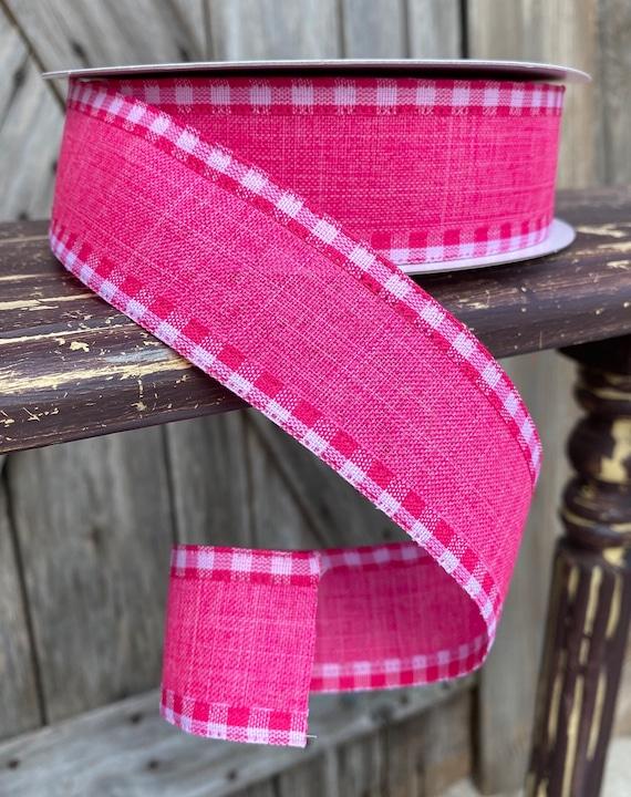 20 Yards, Wired Ribbon, Hot Pink Check Ribbon