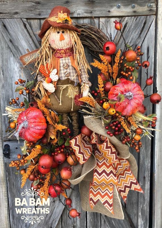 Fall Wreath, Autumn Wreath, Scarecrow Wreath, Halloween Wreath, Burlap Wreath, Pumpkin Wreath