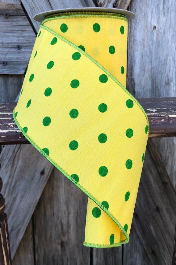 Wired Ribbon ~ 4 Inch Ribbon ~ Yellow & Green ~ 10 Yards
