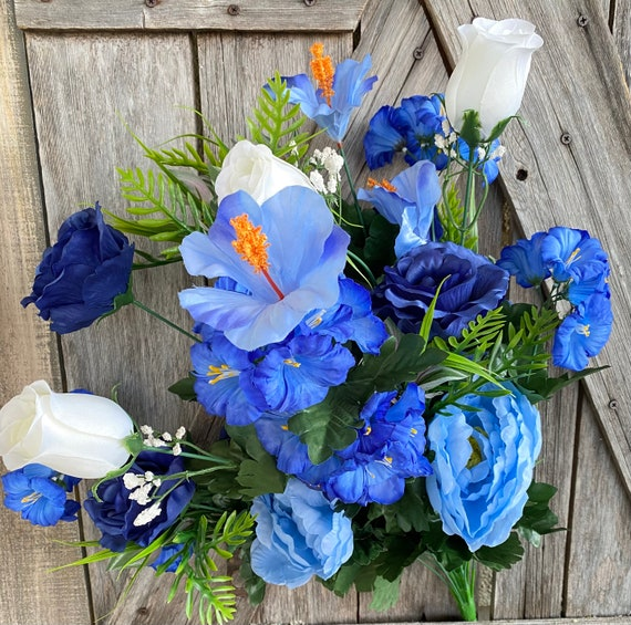 Blue Peony Rose Hibiscus Bush, Wreath Supply, Floral