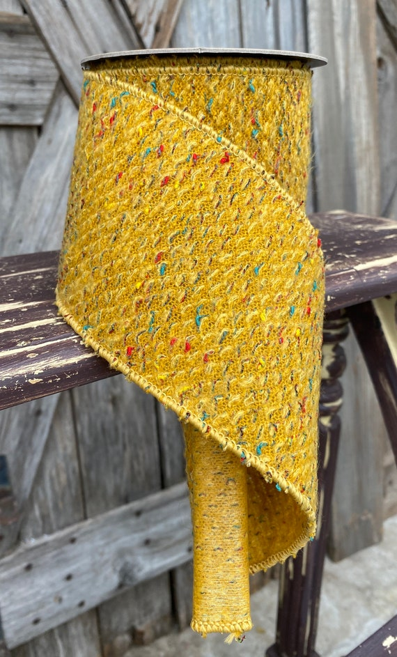 5 Yards, Wired Ribbon, Faux Wool Gold