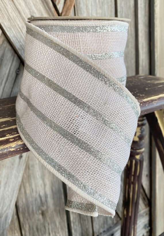 10 Yards, Wired Ribbon, 4 Inch White Silver Glitter Stripe Burlap