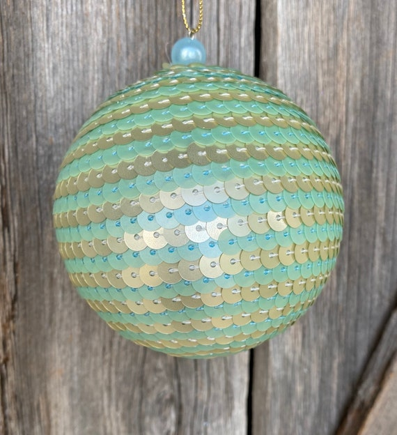 Mint Gold Sequin Ornament