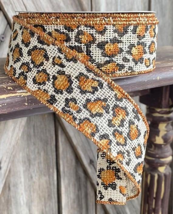 Wired Ribbon ~ 1.5 Inch Ribbon ~ Cream Burlap Cheetah ~ 10 Yards