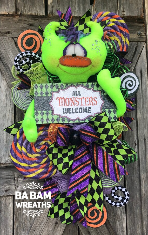 Halloween Monster Wreath, Halloween Wreath, Monster Wreath, Fall Wreath, Halloween Decor, Monsters Welcome