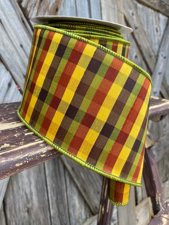 Wired Ribbon ~ 4 Inch Ribbon ~ Green Fall Plaid Ribbon ~ 10 Yards