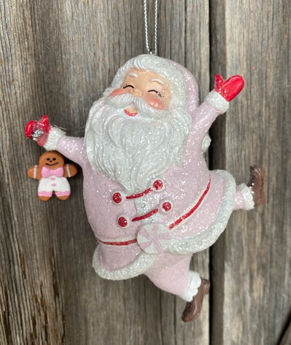 Pink Dancing Santa Ornament