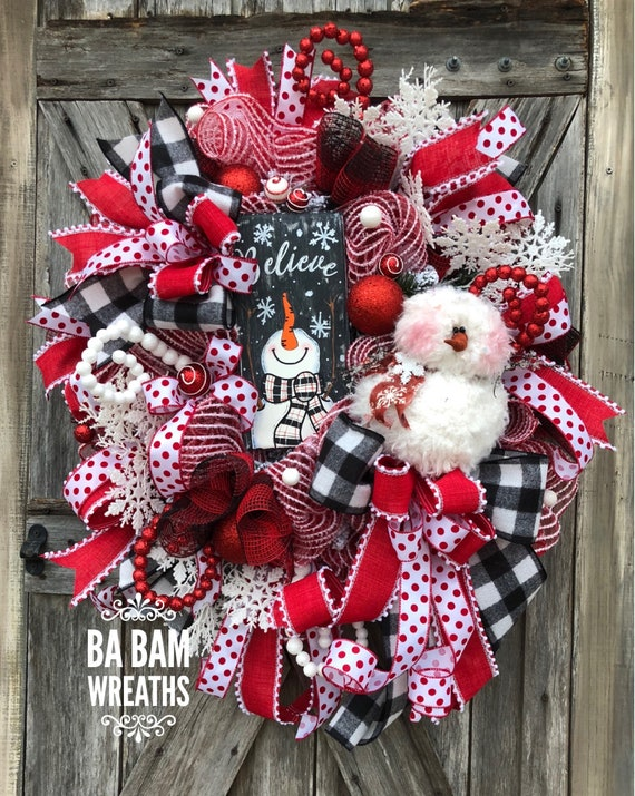 snowman wreath traditional christmas red black christmas decor classic christmas christmas swag christmas wreath
