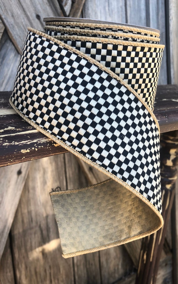 Wired Ribbon ~ 2.5 Inch Ribbon ~ Black Ivory  Mini Checkered ~ 10 Yards